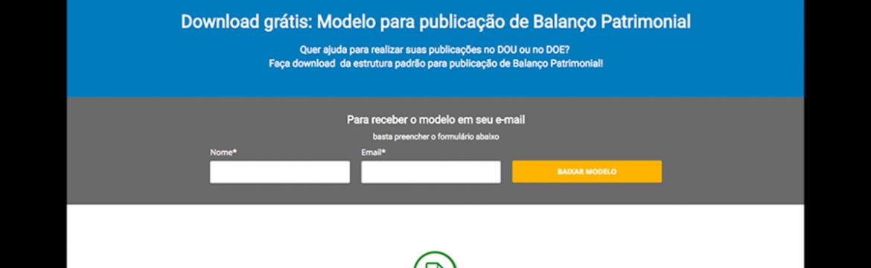 Modelo para publicação de Balanço Patrimonial